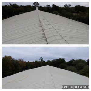 Wilson Exterior Cleaning specializes in a soft wash - low pressure cleaning process that uses a solution to wash away all of the mold, mildew, and dirt from the roof without causing any damage to the roof or granules!